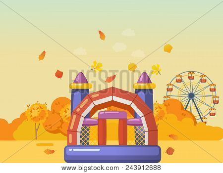 Autumn Playground For Children. Entertainment In Form Of Inflatable Gaming Complex With Slides, Ladd
