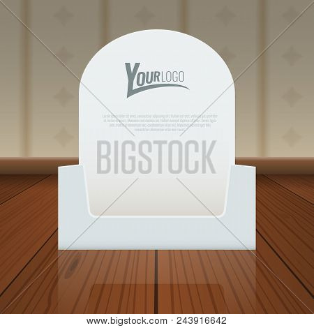 Empty Cardboard Or Visit Card Display Box Mockup With Front Viewpoint On Wood Floor. Realistic Drawi