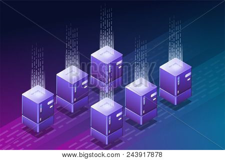 Blockchain Isometric Illustration. Data Center Or Cloud Storage. Crypto Currency Farm With Isometric