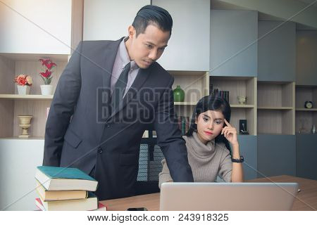Businessman Boss Leader Coaching And Teaching Secretary On The Job Training In Office. Business And
