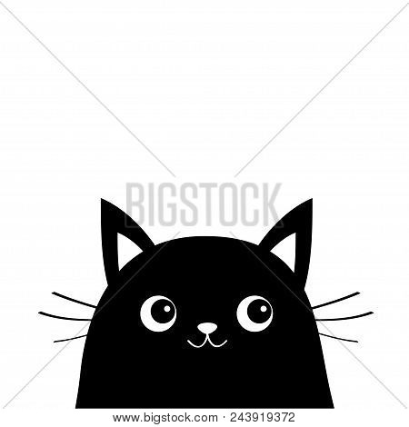 White Cat Face Silhouette Kawaii Animal Cute Cartoon Kitty Character Funny Baby Kitten With Eyes Mustaches Nose Ears Love Greeting Card Flat Design