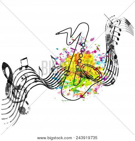 Music Colorful Background With Music Notes And Saxophone Vector Illustration Design. Music Festival