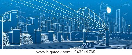 Urban Infrastructure And Transport Illustration. Monorail Bridge Across The Mountains. Modern City A