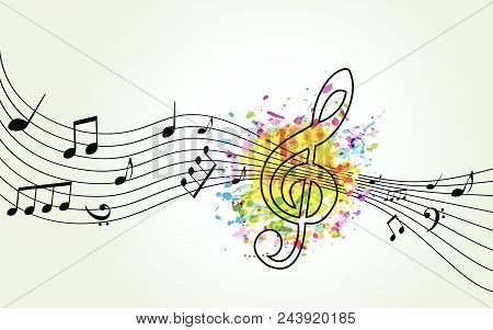 Music Colorful Background With G-clef And Music Notes Vector Illustration Design. Music Festival Pos