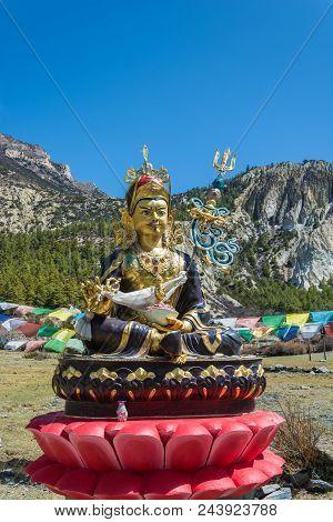 Buddhist Statue In The Village Of Braka, Nepal.