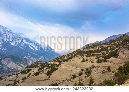 Mountain Road On A Steep Mountainside, Nepal.