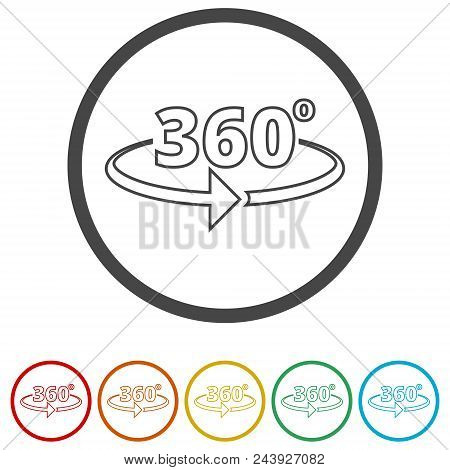 360 Degrees Icon, 6 Colors Included On White Background