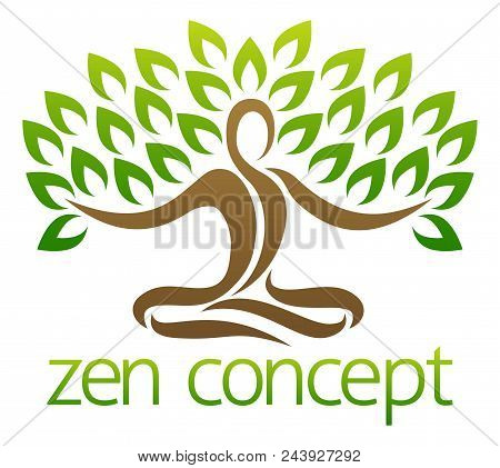 Conceptual Design Element Of A Tree In The Shape Of A Figure Sitting Crossed Legged In A Zen Yoga Lo