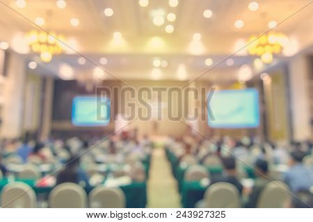 Blur Of Business Conference And Presentation In The Conference Hall