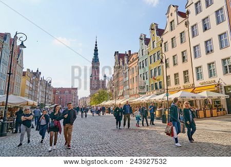 Gdansk, Poland - April 28, 2018: Town Hall On 28 April 2018 In Gdansk, Poland. In The Main Town Hall