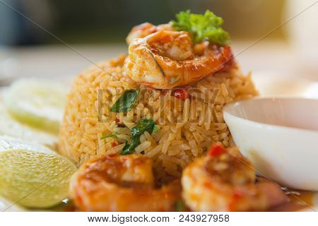 Fried Rice With Spicy Tom Yum Goong (prawns) With Shrimp, Thai Food Style