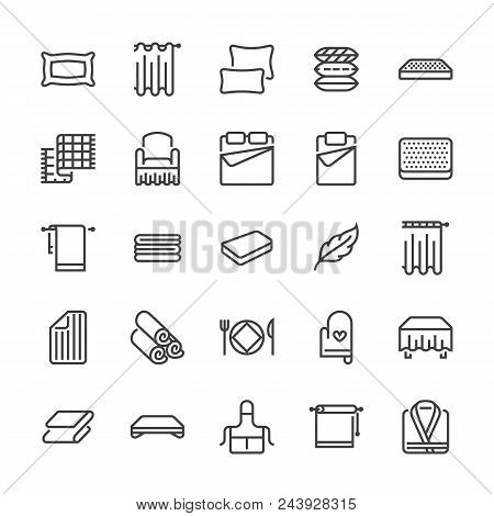 Bedding Flat Line Icons. Orthopedics Mattresses, Bedroom Linen, Pillows, Sheets Set, Blanket And Duv