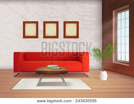 Contemporary Home Interior Design Element With Red Sofa Accent In Neutral Colored Living Room Realis