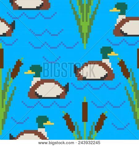 Drake Pixel Art Pattern. Pond 8bit Of Texture. Waterfowl Bird Background. Vector Illustration
