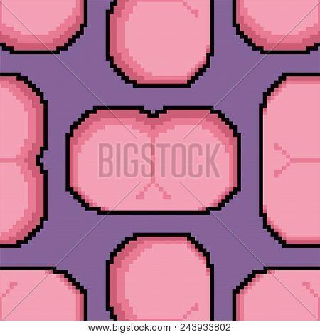 Ass Pixel Art Pattern Seamless. Back Part Woman Body 8 Bit. Vector Illustration