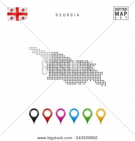Dotted Map Of Georgia. Simple Silhouette Of Georgia. The National Flag Of Georgia. Set Of Multicolor