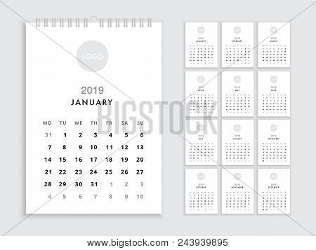 flip calendar 2019 template for 2019 year planner vector diary in a minimalist style
