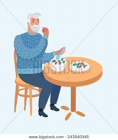 Vector Cartoon Illustration Of Elderly Man Eat At The Table, Lunch For Person Elderly, Senior Man Di