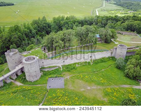 Aerial Drone View At The Ancient Destroyed Fortress Koporye. Near St. Petersburg. Russia.