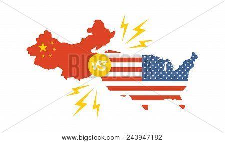 Trade War, America China Tariff Business Global Exchange International. Usa Versus China. Vector Ill