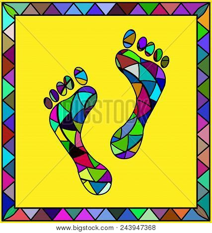 Abstract Colored Background Image Of Footprint Consisting Of Lines And Figures