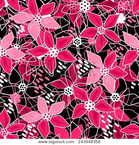 Seamless Red Floral Flowers Pattern Background  Picnic, Illustration