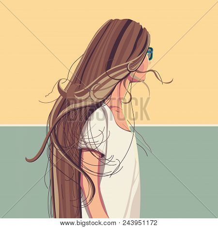 Pretty Girl With Long Hair In White T-shirt And Sunglasses Vector Illustration