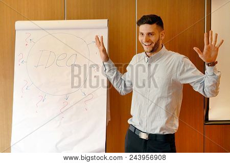 Successful Smiling Male Coach Explaining A Training Seminar Standing Next To The Board With The Layo