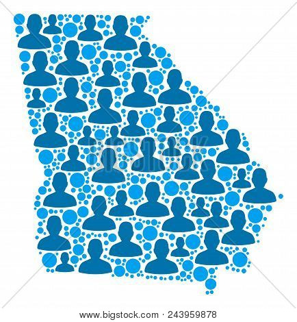 Population American State Georgia Map. Demography Vector Composition Of American State Georgia Map M