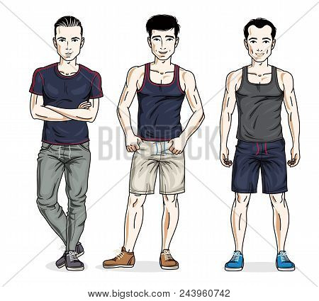 Confident Handsome Men Posing In Stylish Sportswear. Vector Set Of Beautiful People Illustrations. L
