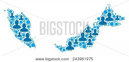 Population Malaysia Map. Demography Vector Pattern Of Malaysia Map Organized Of Scattered Person Ite