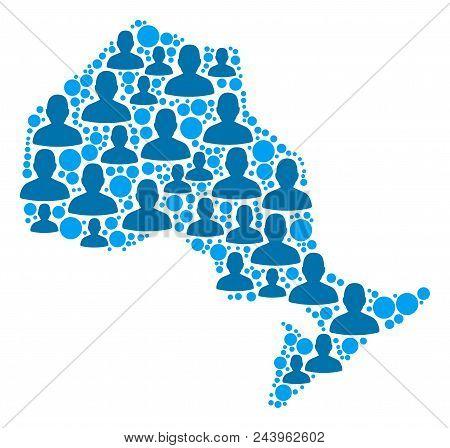 Population Ontario Province Map. Demography Vector Concept Of Ontario Province Map Designed Of Scatt