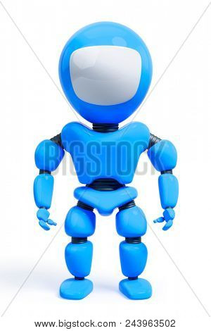 3d illustration of a sweet toy male robot