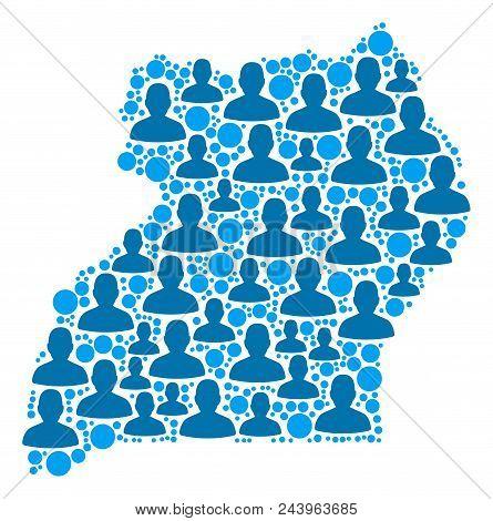 Population Uganda Map. Demography Vector Composition Of Uganda Map Designed Of Scattered Human Eleme