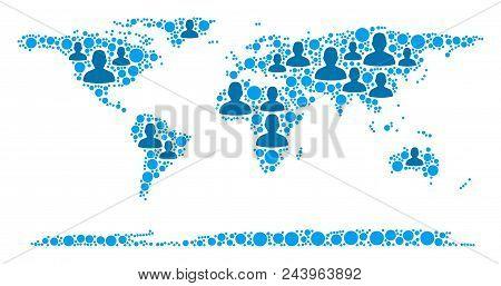 Population World Continent Map. Demography Vector Pattern Of World Continent Map Done Of Randomized