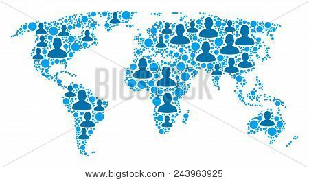 Population World Map. Demography Vector Collage Of World Map Done Of Scattered Crowd Elements And Ci