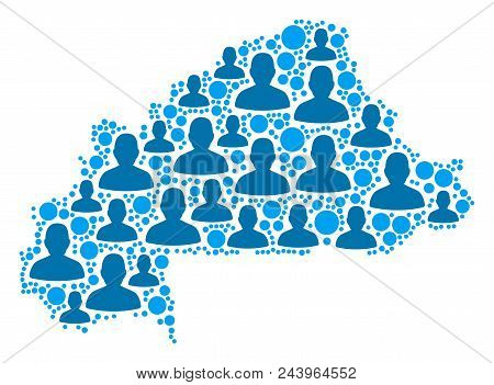 Population Burkina Faso Map. Demography Vector Mosaic Of Burkina Faso Map Constructed Of Randomized