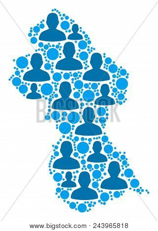 Population Guyana Map. Demography Vector Collage Of Guyana Map Created Of Randomized Crowd Items And
