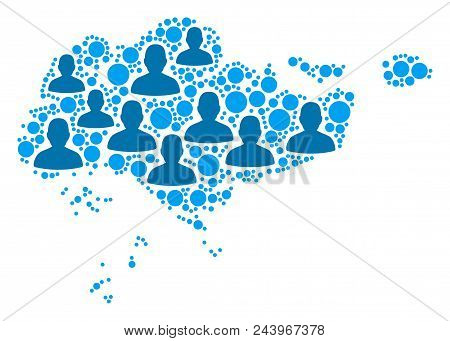 Population Singapore Map. Demography Vector Collage Of Singapore Map Constructed Of Random People El