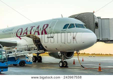 Kyiv, Ukraine - May 26, 2018: Photo Of A Qatar Airways Aircraft, Which Is Regular National Airline B