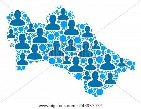 Population Turkmenistan Map. Demography Vector Composition Of Turkmenistan Map Designed Of Random Cr