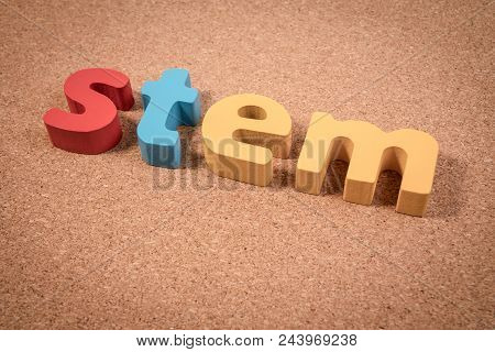 STEM Education. Science Technology Engineering Mathematics. STEM word on cork board  for background. poster