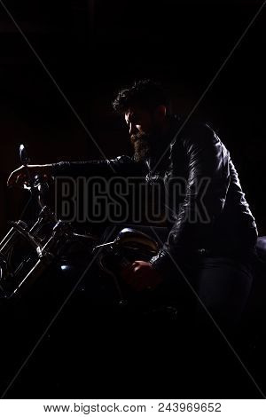 Night Racer Concept. Macho, Brutal Biker In Leather Jacket Riding Motorcycle At Night Time, Copy Spa