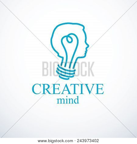 Creative Brain Concept, Intelligent Person Vector Logo. Light Bulb In A Shape Of Child Head Profile.