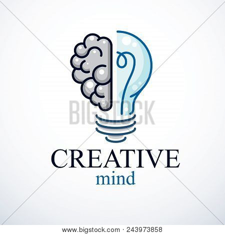 Creative Brain Concept, Intelligent Creation Vector Logo. Light Bulb With Half Of Human Anatomical B