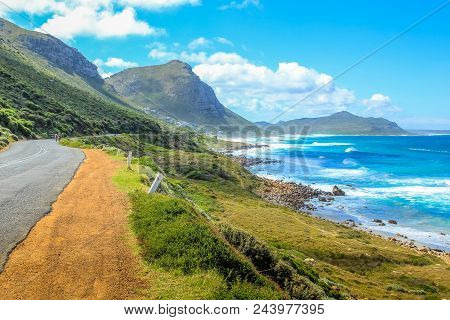 Cape Peninsula Scenic Drive, South Africa. Misty Cliffs A Little Village Between Kommetjie And Scarb