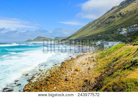 Scenic Landscape Of The Atlantic Coast. Scarborough Village In Cape Peninsula, South Africa. Scenic