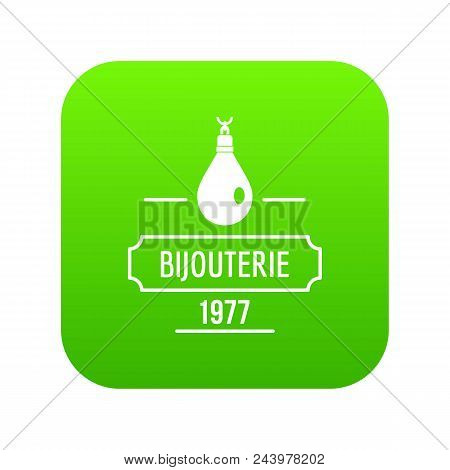 Bijouterie Icon Green Vector Isolated On White Background