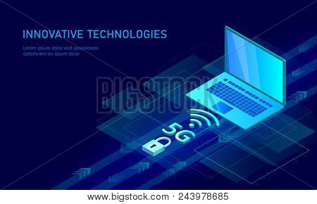 5g New Wireless Internet Wifi Connection. Laptop Mobile Device Isometric Blue 3d Flat. Global Networ