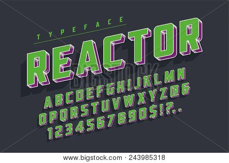 Reactor Retro Display Font Popart Design, Alphabet, Letters And Numbers. Swatch Color Control